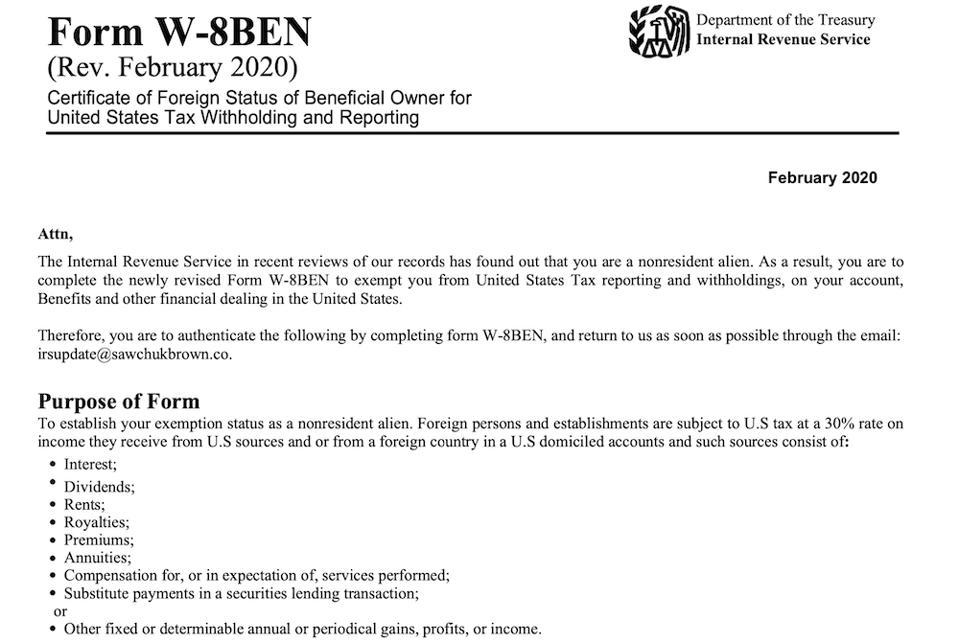 Fake W-8BEN instructions