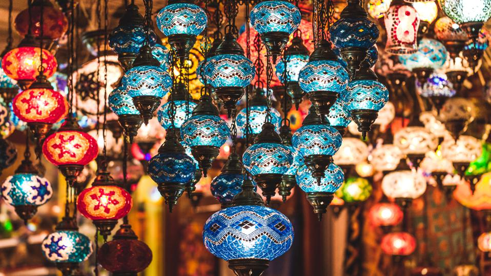 Amazing traditional handmade turkish lamps in souvenir shop
