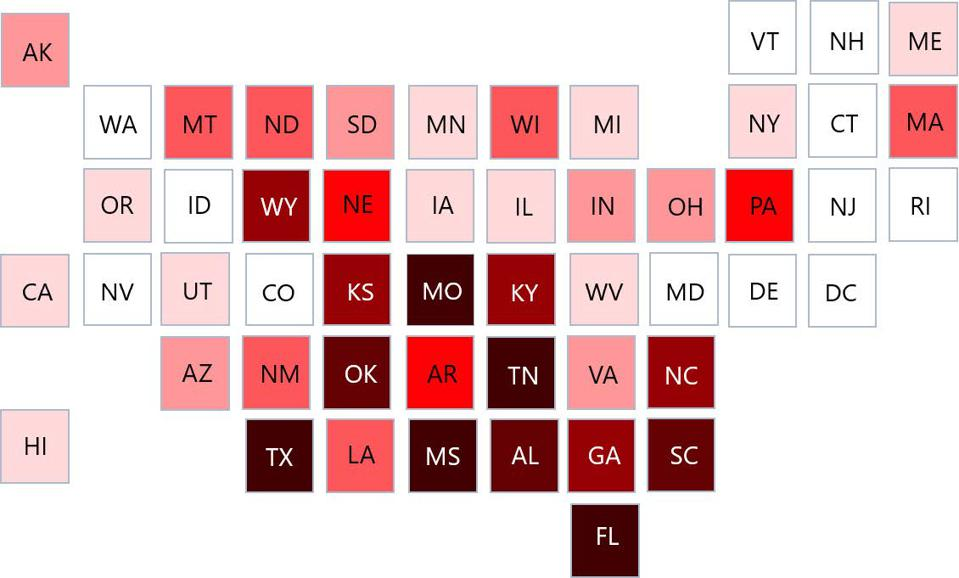 States with the highest percentage of rural hospitals identified as 'Vulnerable' by analysis.