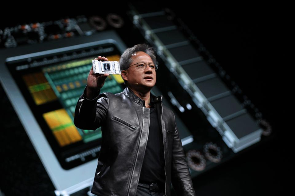 Figure 1: CEO Jensen Huang launched the Volta GPU at GTC in 2017.