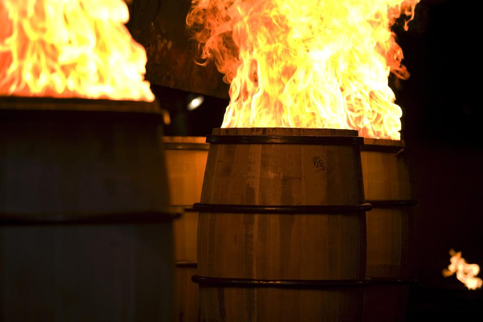 charring barrels at Brown-Forman Cooperage