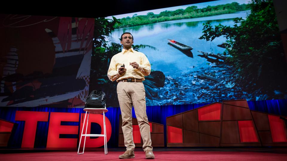 Raj Panjabi, CEO of Last Mile Health, delivers his TED talk at TED 2017 in Vancouver, Canada