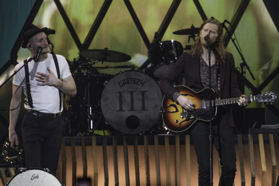 (Left to right) Jeremiah Fraites and Wesley Schultz of The Lumineers perform during ″III: The World Tour″ stop in suburban Chicago. Friday, February 21, 2020 at Allstate Arena in Rosemont, IL (Photo by Ethan Chivari)