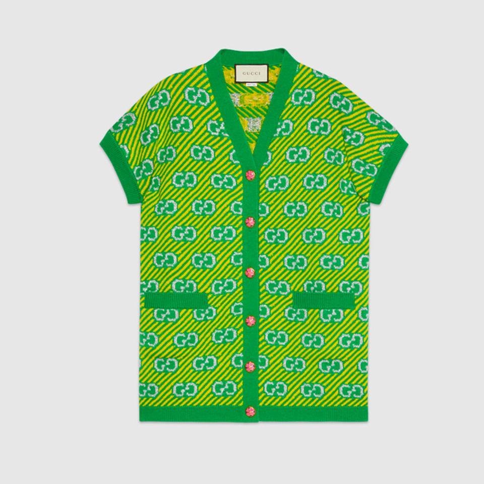 Gucci Green/Yellow GG Stripe Wool Jacquard Vest