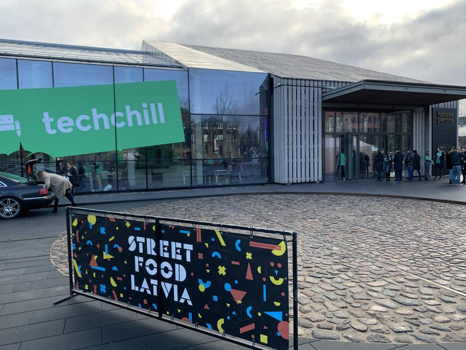 Outside the TechChill conference in Riga, Latvia.