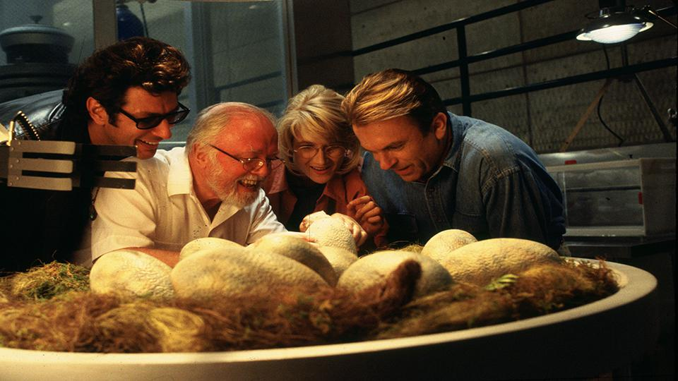 Jeff Goldblum, Richard Attenborough, Laura Dern and Sam Neill in Jurassic Park (1993)