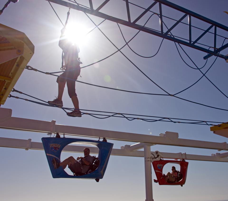 The SkyRide--a bike-ride-in-the-sky attraction--and the  open-air ropes course were both big hits with kids and adults aboard Carnival Horizon.