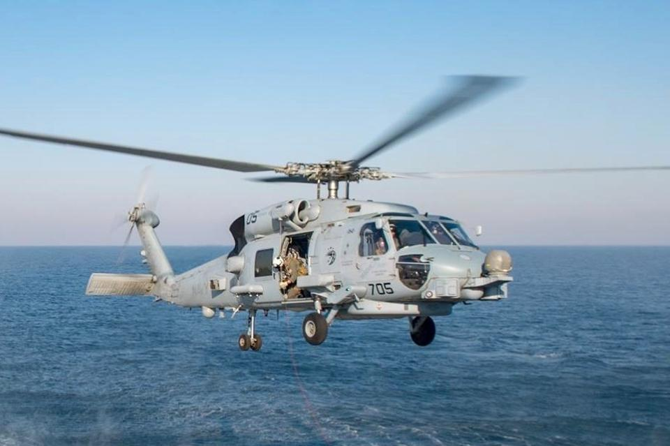 U.S. Navy MH-60R helicopter over Persian Gulf.