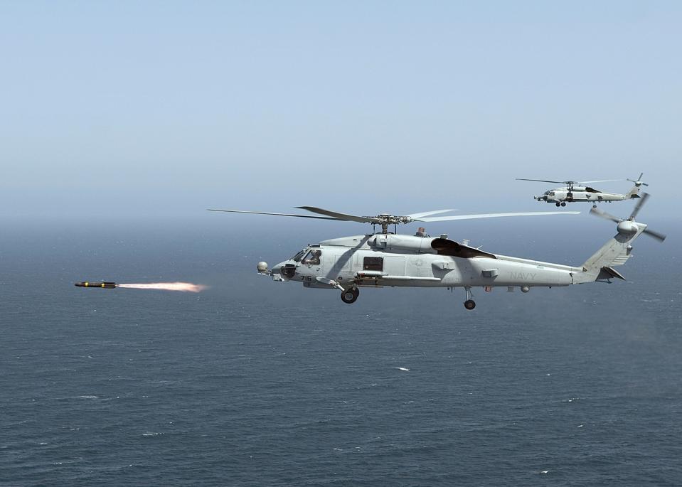 MH-60R firing Hellire missile.