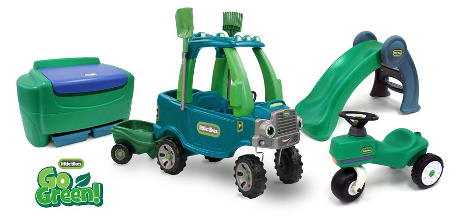 A picture of the Go Green ride-on bikes and cars for children by the Little Tikes brand of manufacturer MGA Entertainment