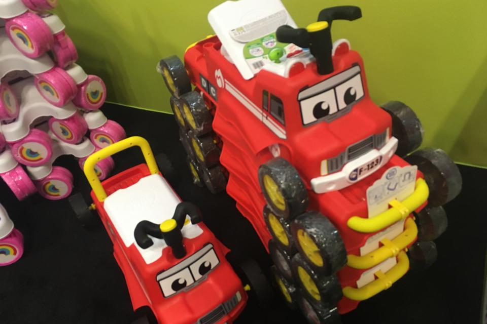 A display of Tiny Town firetruck ride-on toys for chidren at New York Toy Fair, Feb. 23, 2020