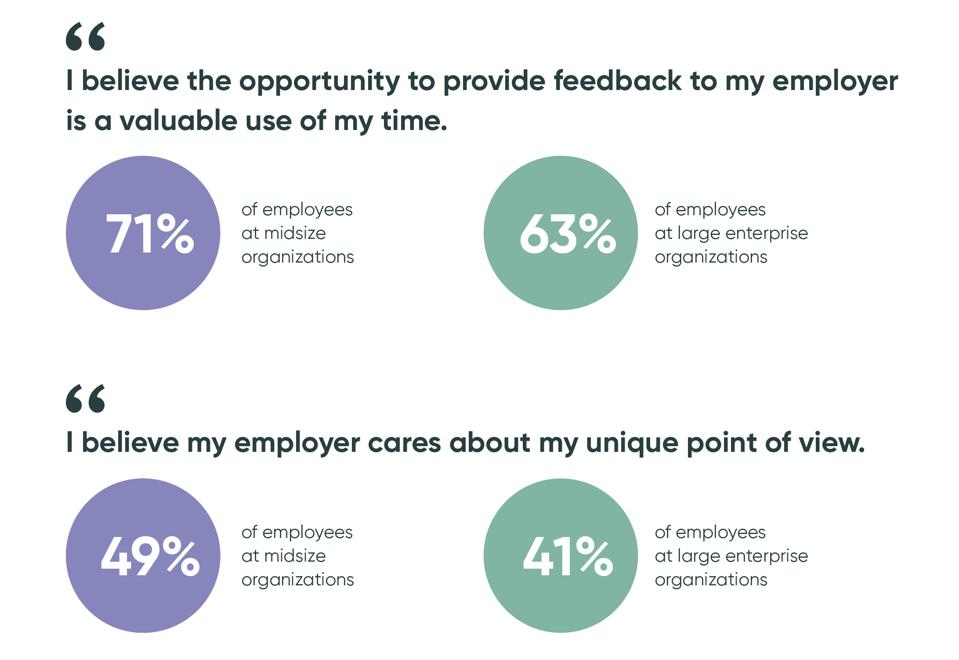 More employees at midsize companies feel giving feedback is a valuable use of time.