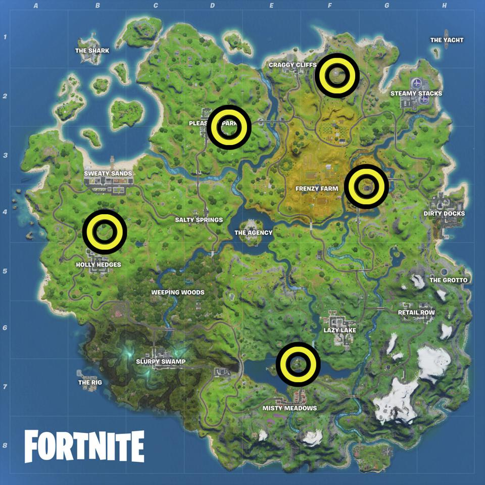 Fortnite Shadow Safe House Locations Map