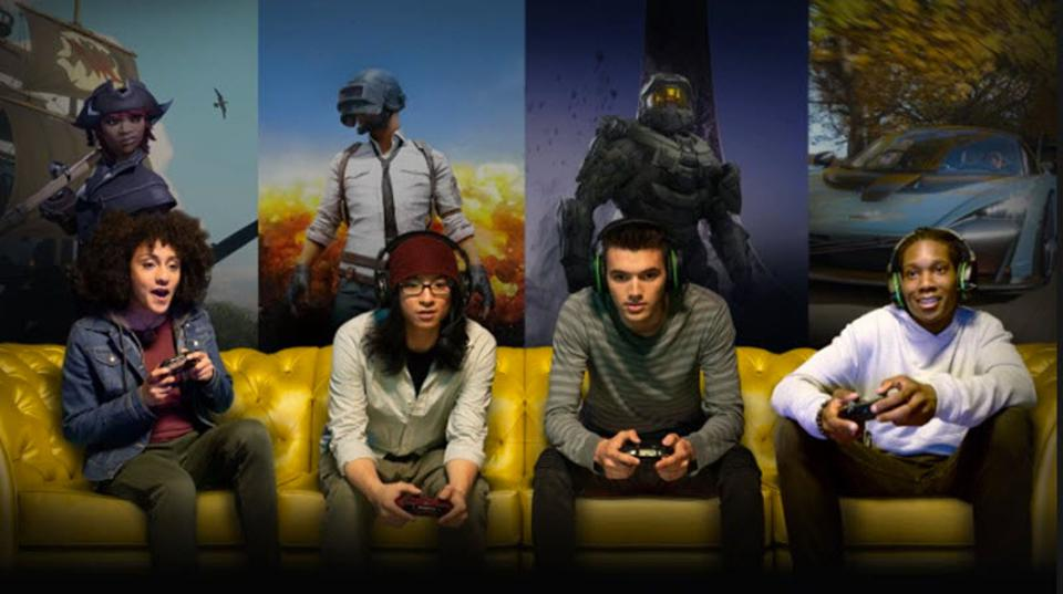 Four people playing video games