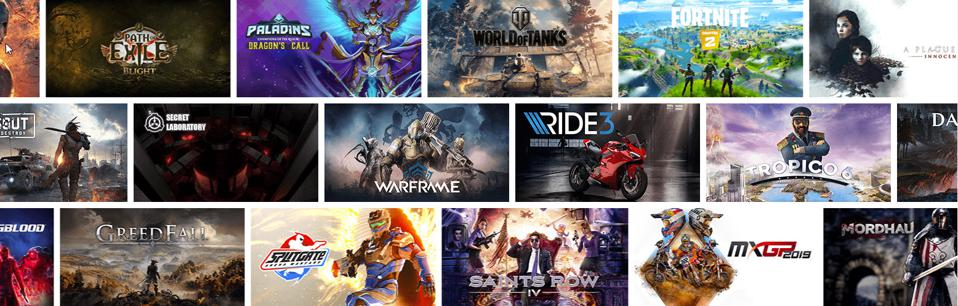 A selection of games streaming on GeForce Now