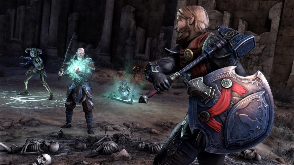 Wielding the powerful new shield added in the Harrowstorm DLC for ESO.