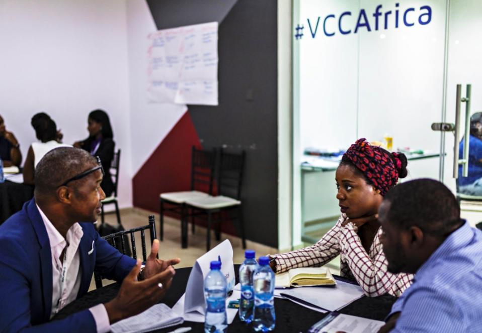 Three entrepreneurs in a Village Capital accelerator program in Africa
