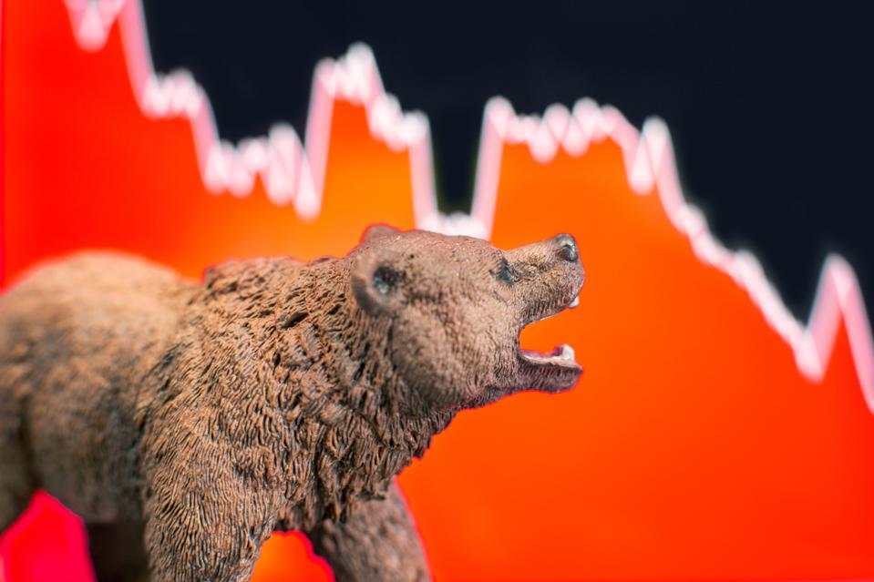 Bearish scenario in stock market with bear figure
