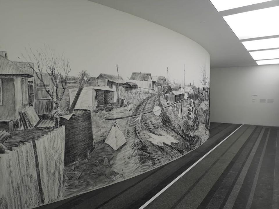 charcoal wall drawing in Kiev