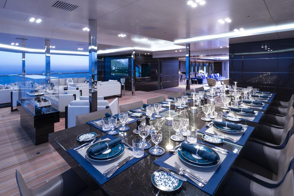 The massive dining table aboard BOLD