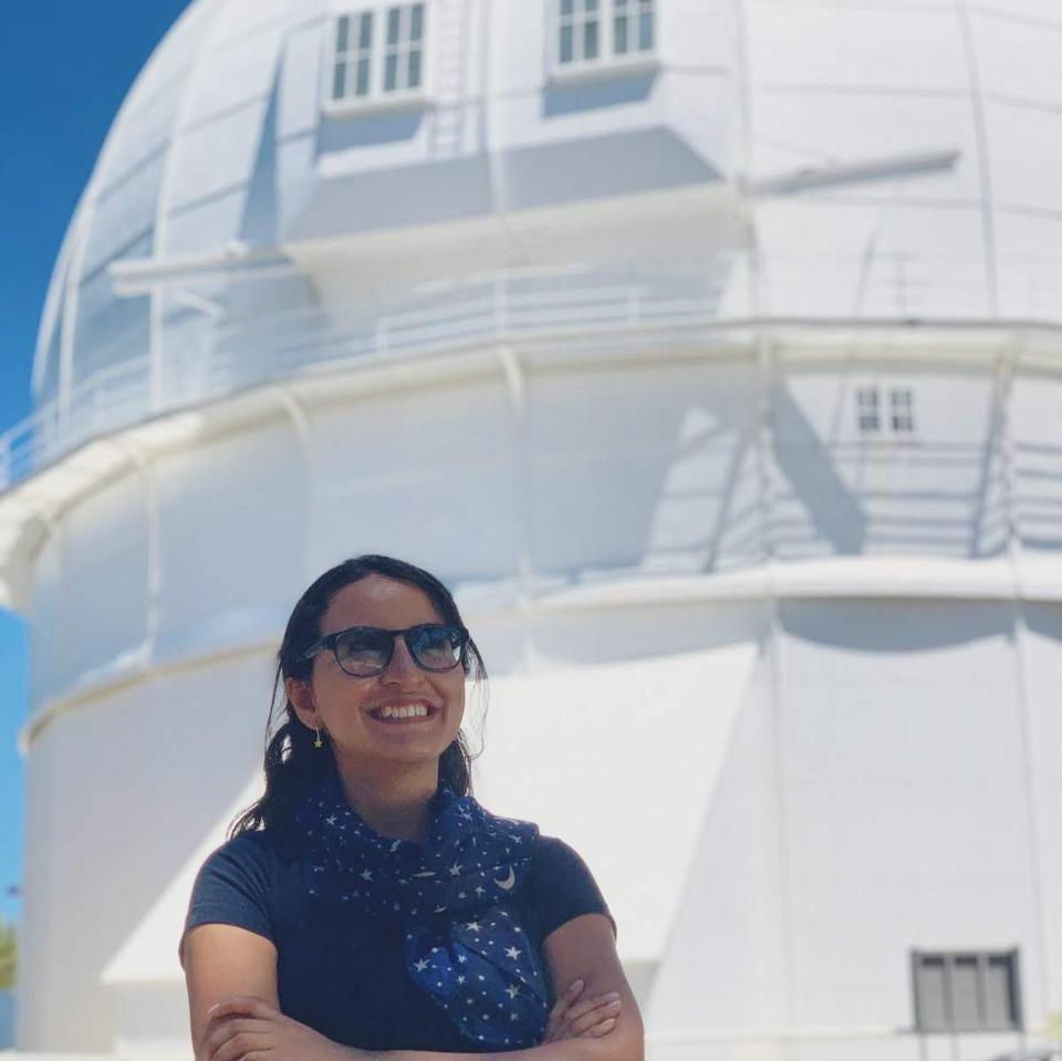 Colombian researcher Andrea Guzman Mesa at the Mount Wilson Observatory in Los Angeles, USA on August 2019.