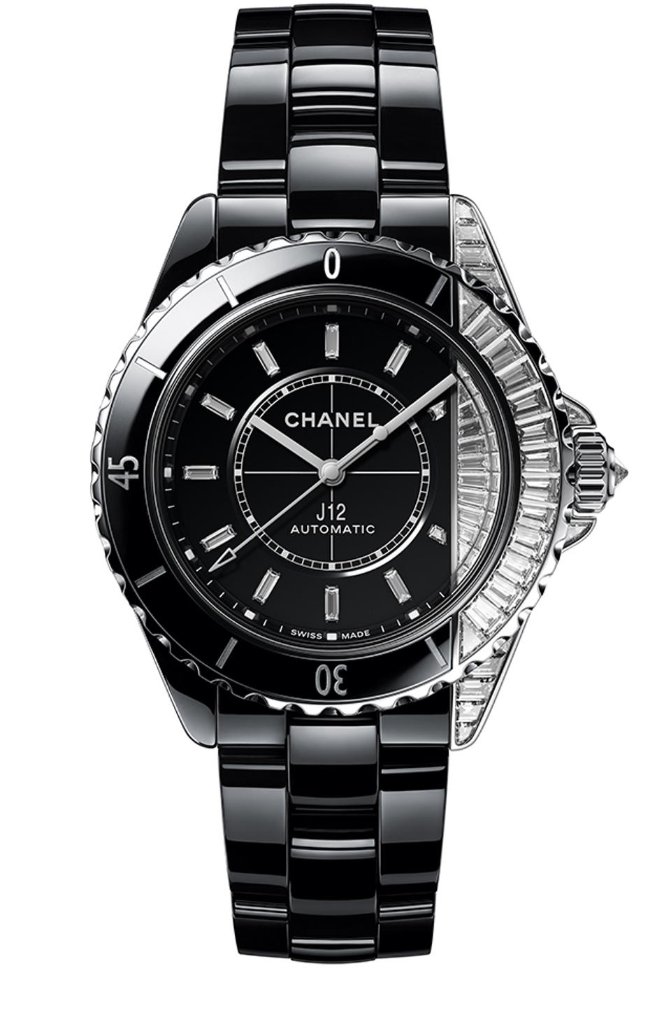 The Chanel J12 Paradox, with a case made of part black ceramic and part baguette diamonds.