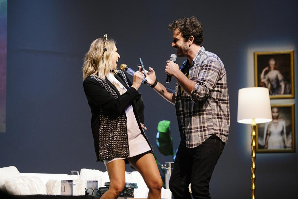 Stassi and her fiance Beau Clark on her Straight Up with Stassi podcast tour
