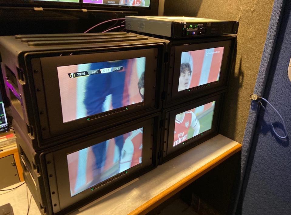BT Monitors showing a quad 4K feed.