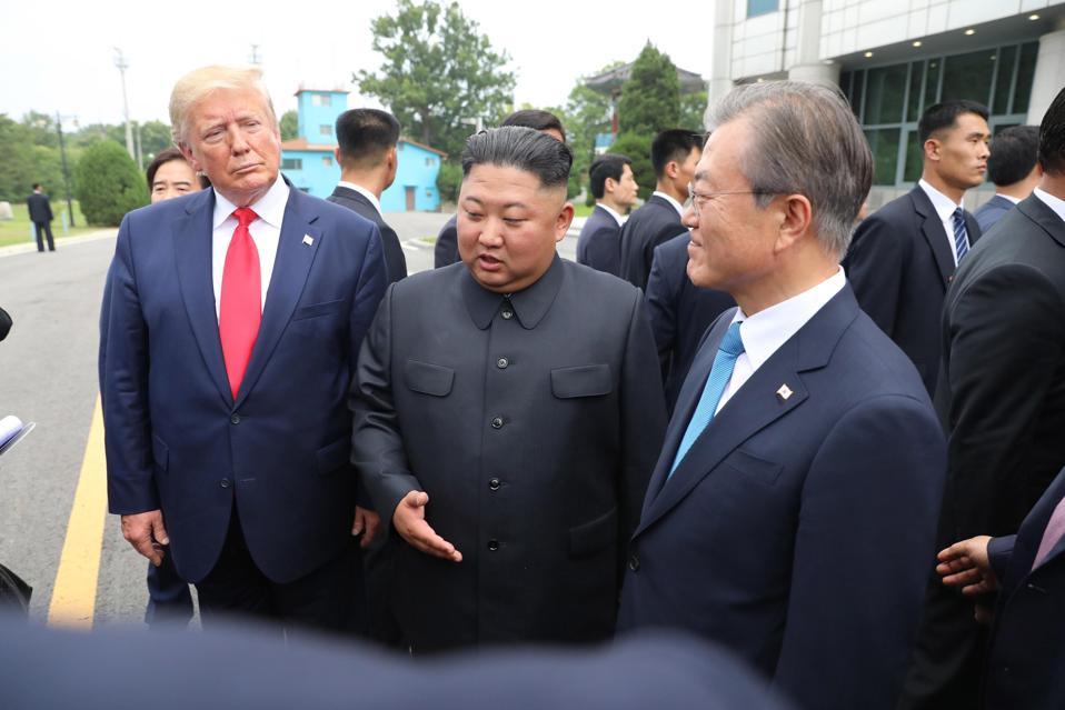 Kim Jong Un speaks with Donald Trump and Moon Jae-in.
