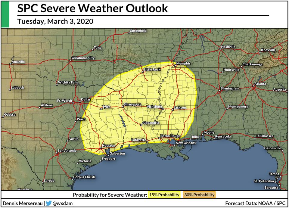 The Storm Prediction Center's severe weather outlook for Tuesday, March 3, 2020.