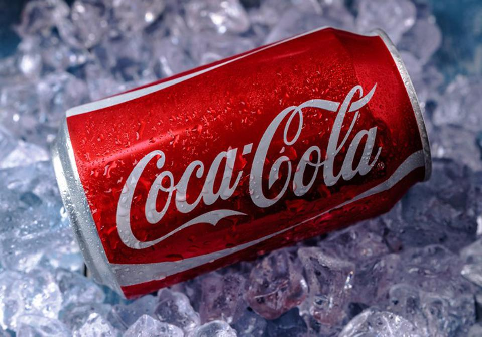 Can of Coca-Cola on ice