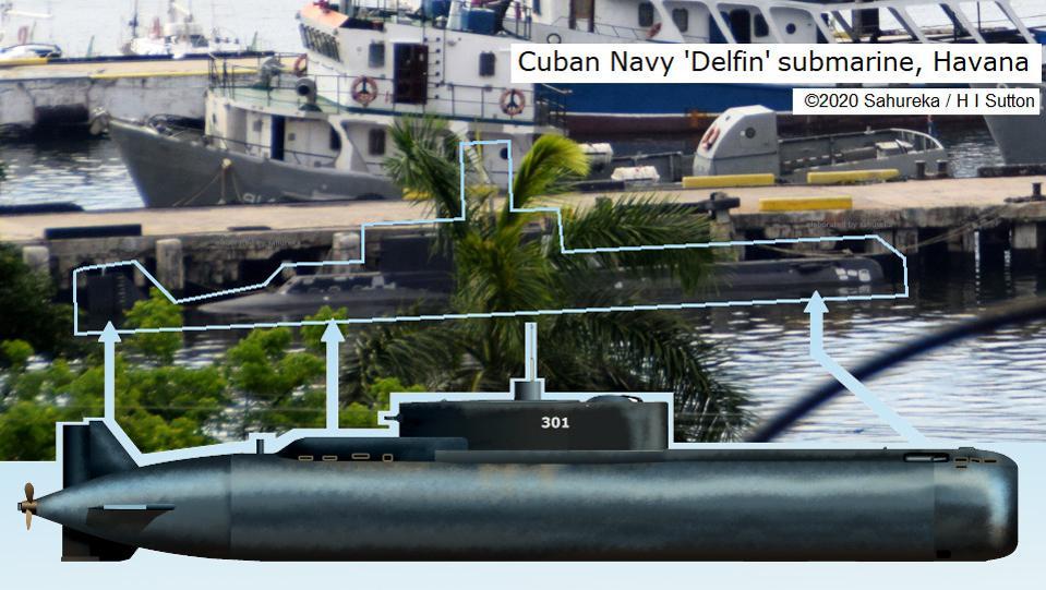 Eines der am wenigsten bekannten U-Boote der Welt: die kubanische Delfin-Klasse | Bildquelle: https://www.forbes.com/sites/hisutton/2020/03/01/new-photo-reveals-cuban-navys-secret-submarine/#6ceec9e96055 © Sahureka / H I Sutton | Bilder sind in der Regel urheberrechtlich geschützt
