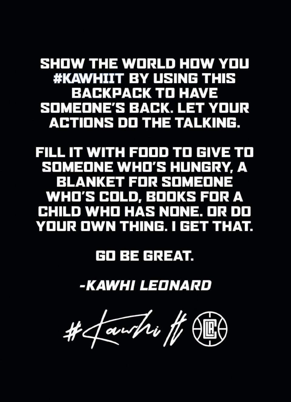The back of the #Kawhiit note card