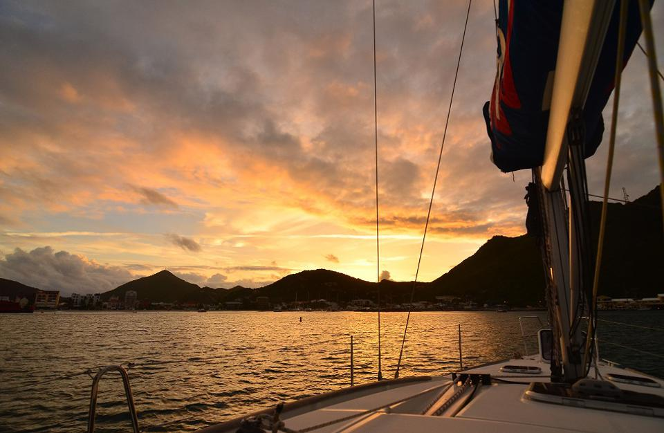 Sunset over St Martin with The Moorings.