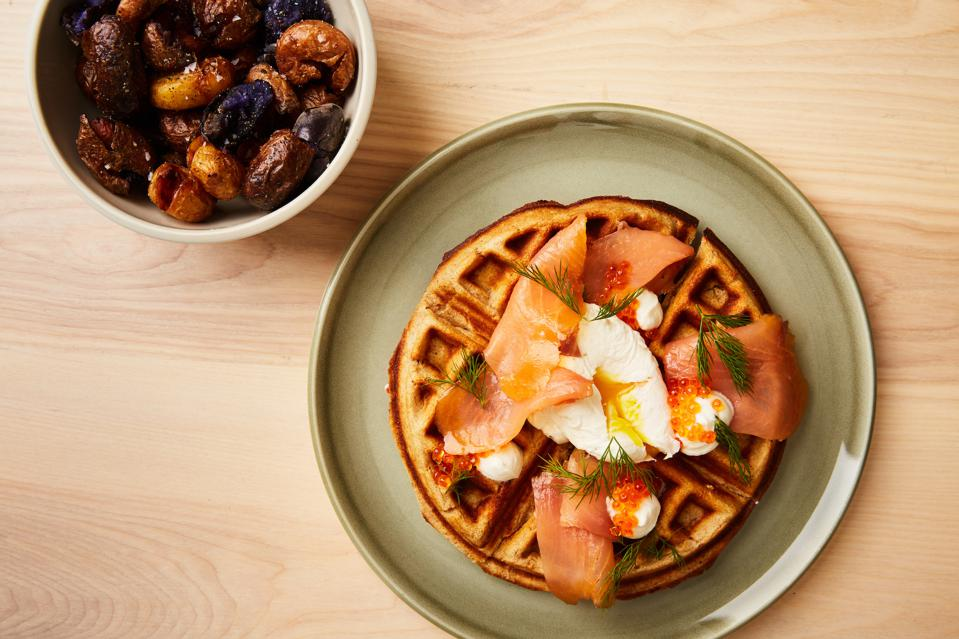 Buckwheat waffle topped with cured king salmon