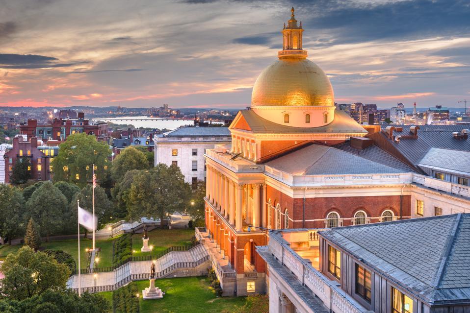 Massachusetts statehouse, where legislators are considering a host of tax proposals.