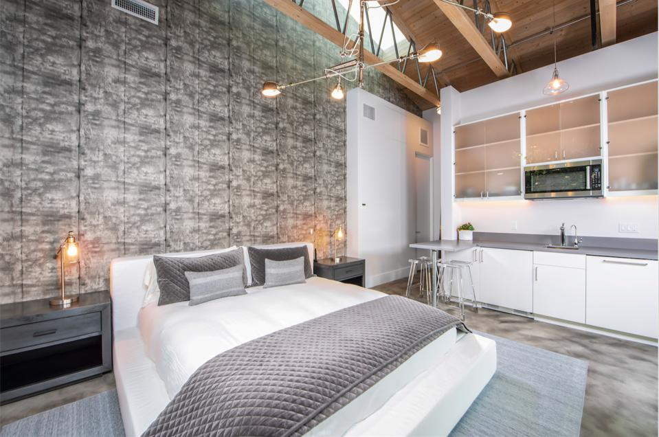 Industrial-style two-bedroom suite