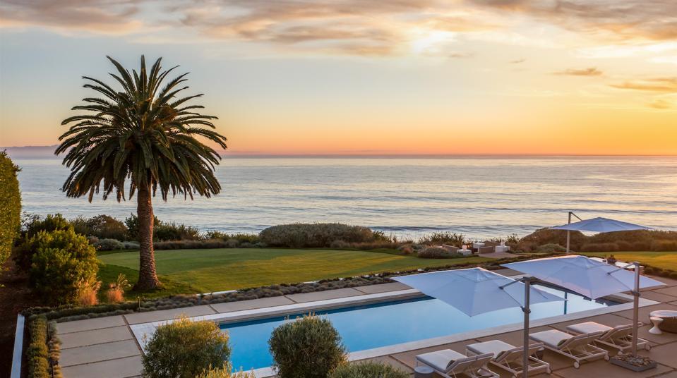 Panoramic pool sunset