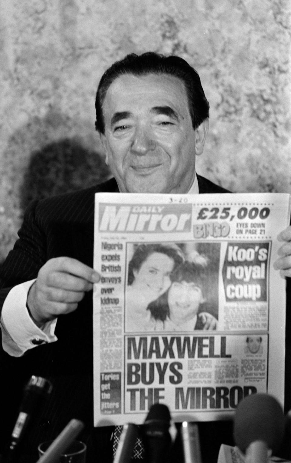 Millionaire publisher Robert Maxwell at a press conference in London after it was announced that he had bought the Daily Mirror and its sister newspapers for   113.4 million. On hearing the new Mr Clive Thornton, Chairman of the Mirror Group Newspapers, resigned.