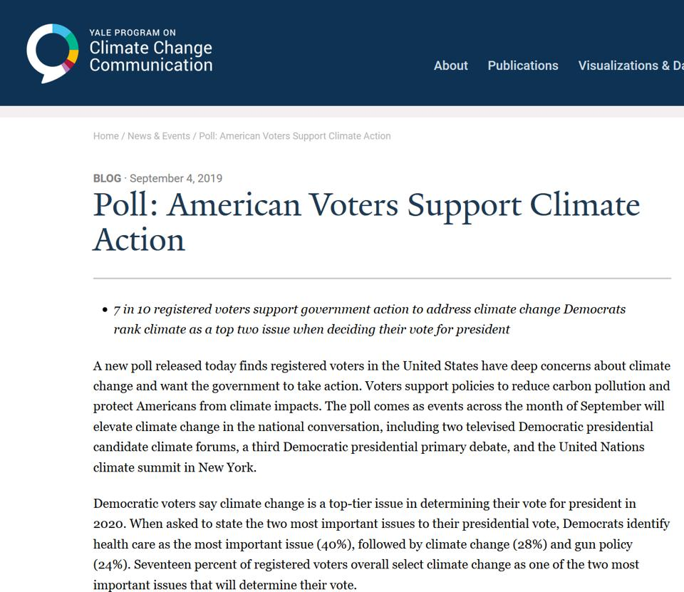Screen shot of Yale University report on climate, voting poll