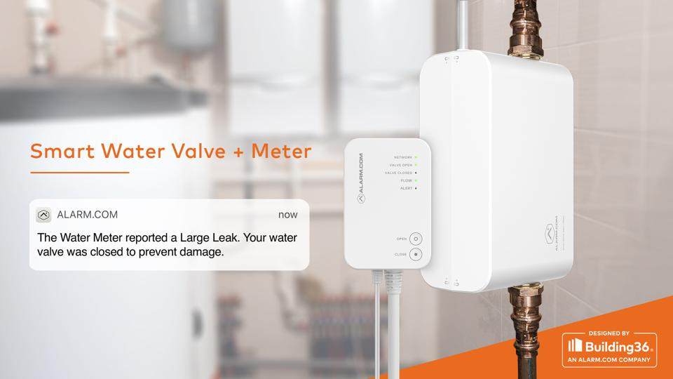 Alarm.com Smart Water Vale + Meter and text alert.