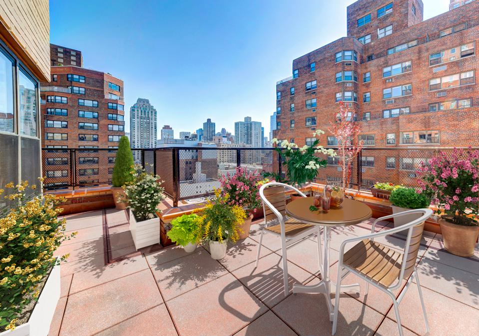 This 1,300 square foot Upper East Side Manhattan apartment, listed for sale at $1.9 million, boasts a 415 square foot terrace and a lofty P/E of 56.
