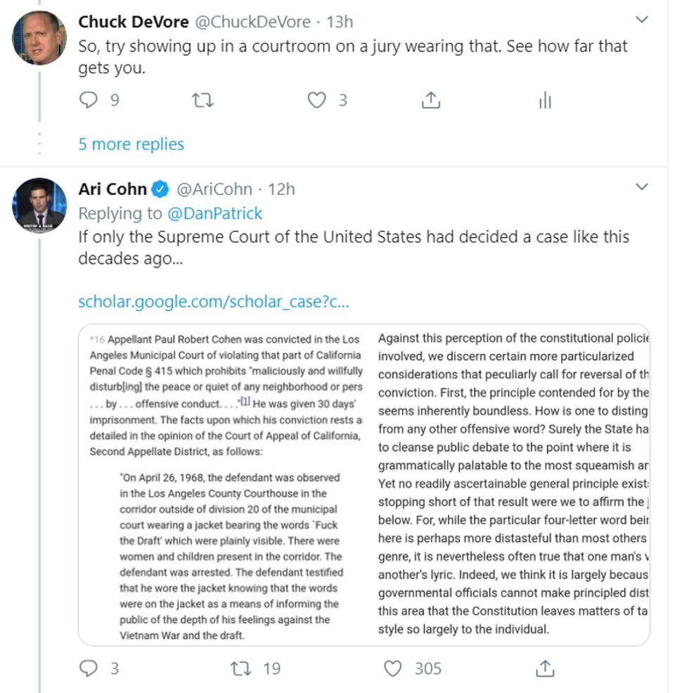Cohen v. California and viewpoint discrimination.