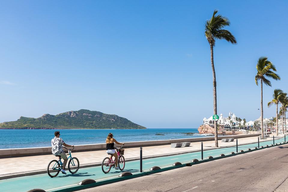 biking on the malecon in mazatlan
