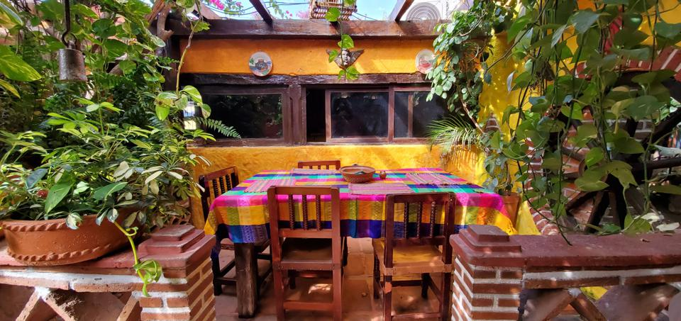 colorful table at a mexican restaurant in el quelite