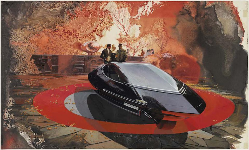 Designer Sydney Jay Mead's Elwood Engel Design for a Gyroscopically Stabilized Two Wheel Car, circa 1960. Collection of Brett Snyder