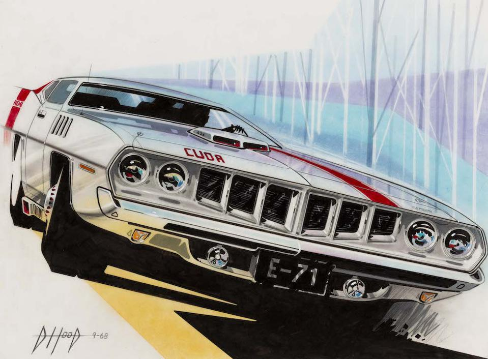 Donald Hood's '71 Barracuda Front End Fac Concept, 1968. Collection of Robert Edwards and Julie Hyde-Edwards.