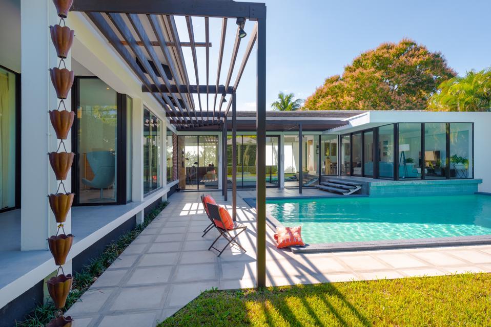 Backyard courtyard pool