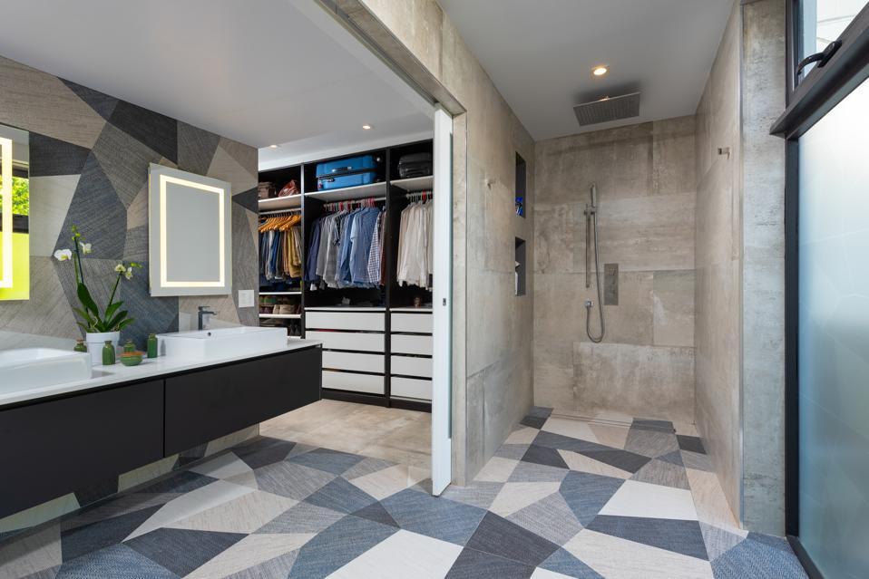 Walk-in shower and wardrobe closet