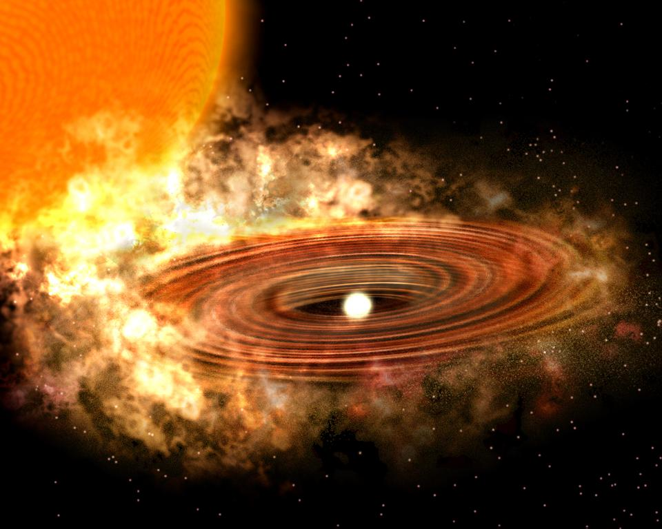 An artist's conception of the accretion disk in the binary star system WZ Sagittae.